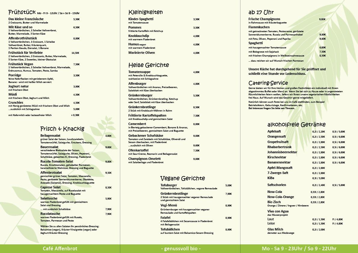 Speisekarte Cafe Affenbrot